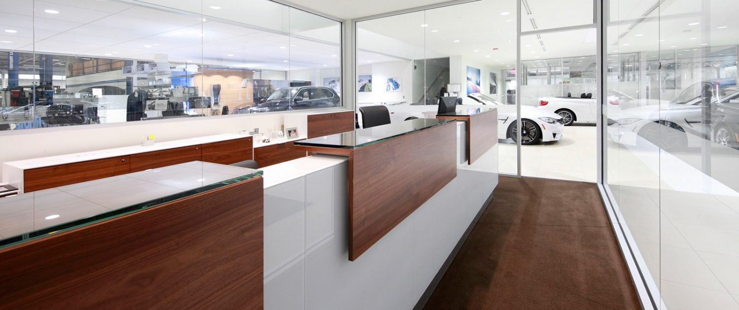 Offices for the managers are open and transparent at Knauz Motors.