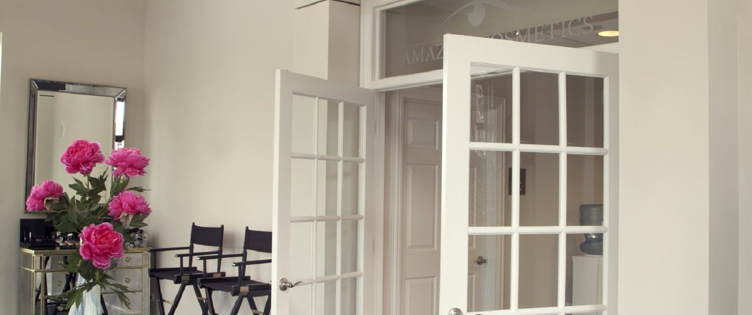 French doors open from the make-up studio to the office space at AmazingCosmetics.