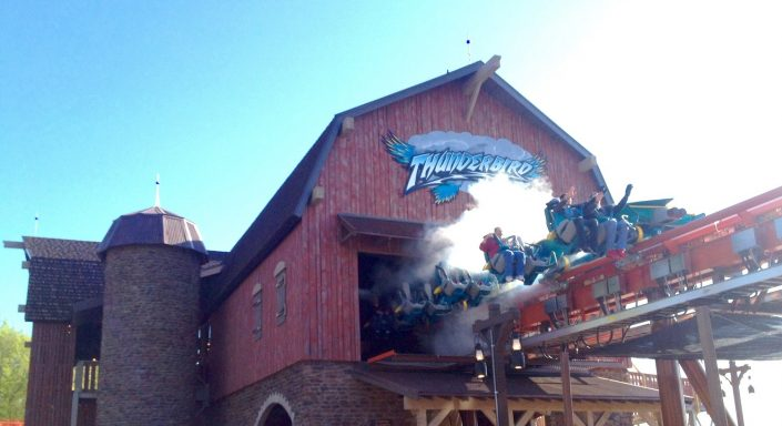 This is an image of the launch station barn and the riders are propelled forward with heart pumping force and speed.