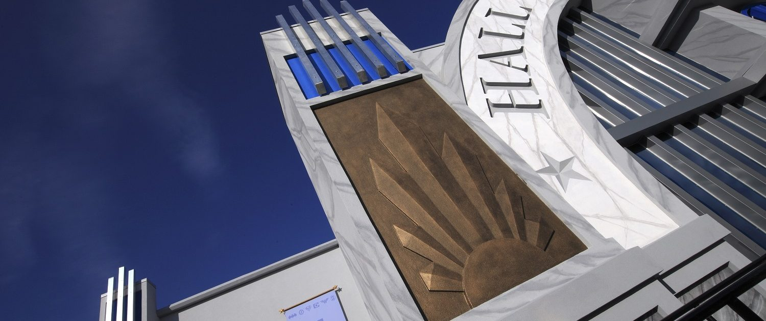 Close up of the building details on Six Flags Great America Hall of Justice.