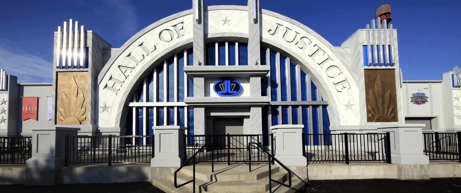 Justice League Battle for Metropolis front entrance to the Hall of Justice