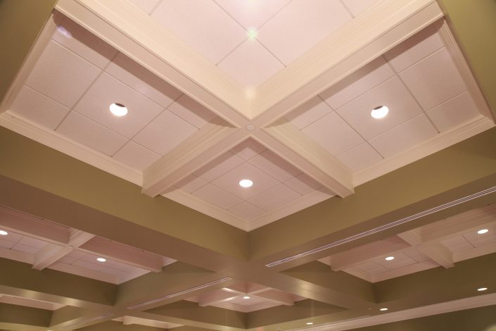 Coffered ceilings located in the main lobby at State Bank of The Lakes in Round Lake, IL.