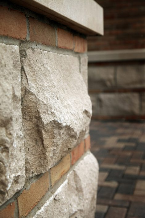 Detail photo of the brick and stone work at State Bank of The Lakes.