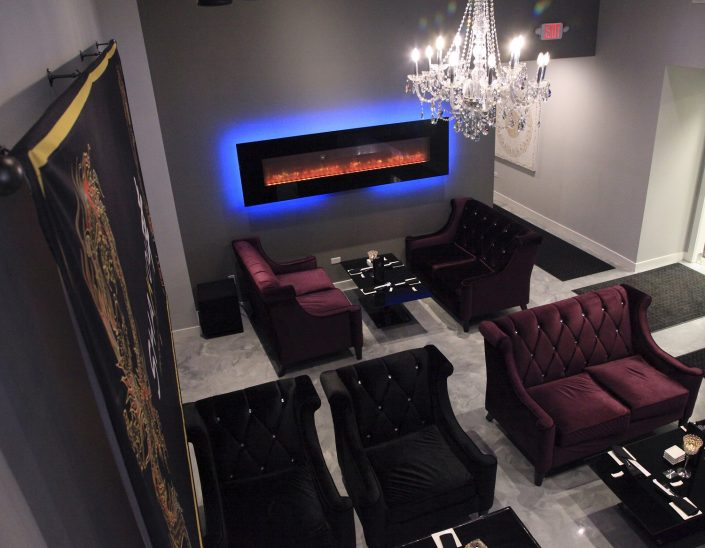 This image is from Shakou's St. Charles location. The view is from the upper level looking down upon the semi-private lounge area.