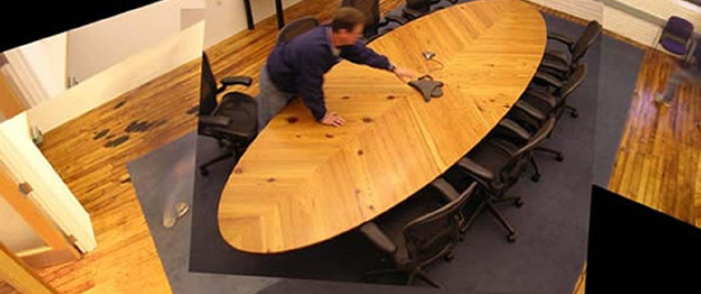 Bleck Design Group conference restored hickory floor.