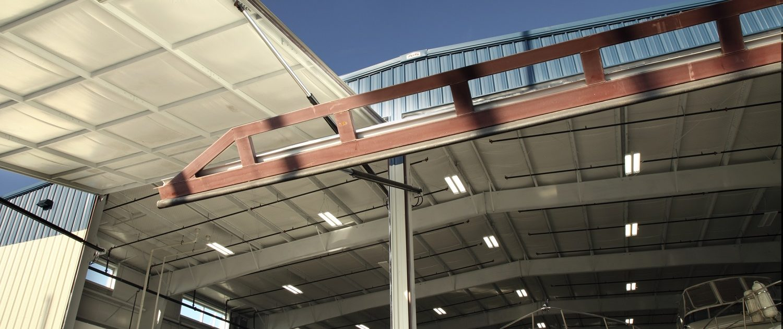 Larsen Marine - Boat Warehouse, doors open.