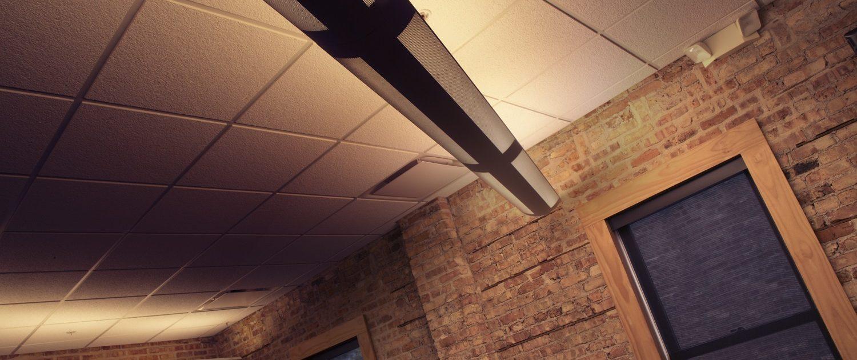 Preserved and restored brick interior walls at Muller Trading Company.