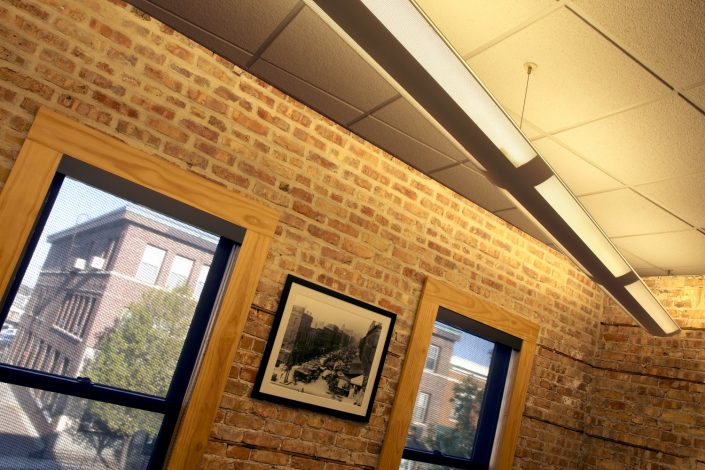 Muller Trading Company, the exposed brick walls provide a warm appearance.