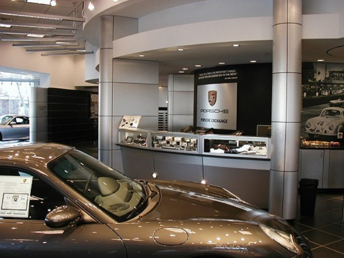 Porsche Exchange design center from which to choose options and finishes for vehicles as well as accessories. T