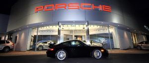 Porsche Exchange taught aluminum skin building exterior