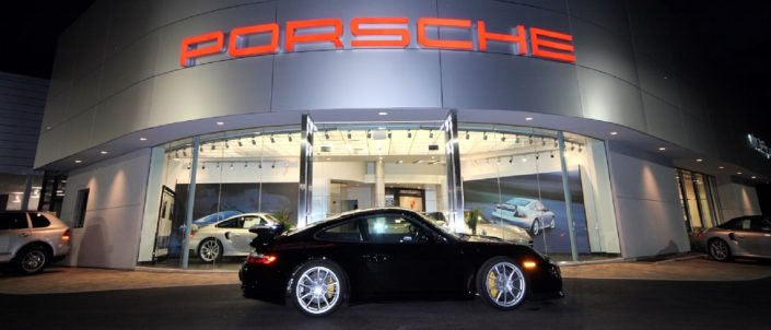 Porsche Exchange taught aluminum skin building exterior