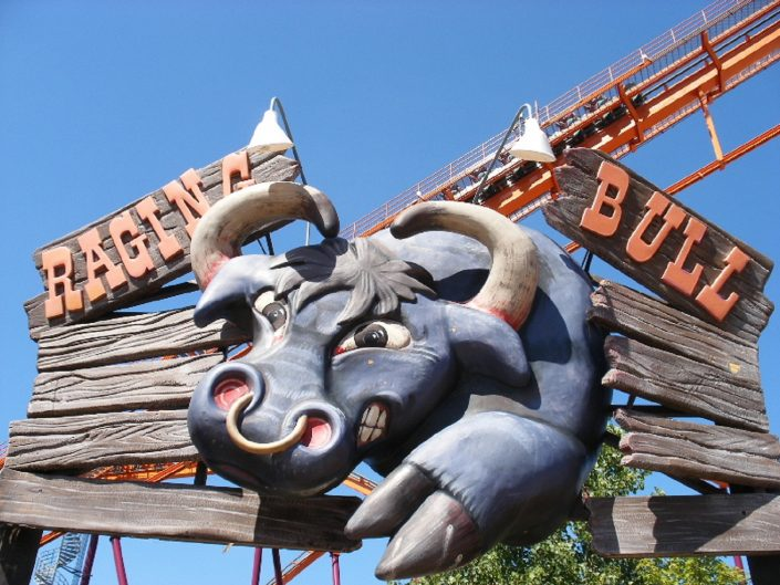 Six Flags Great America - Raging Bull sign marquee