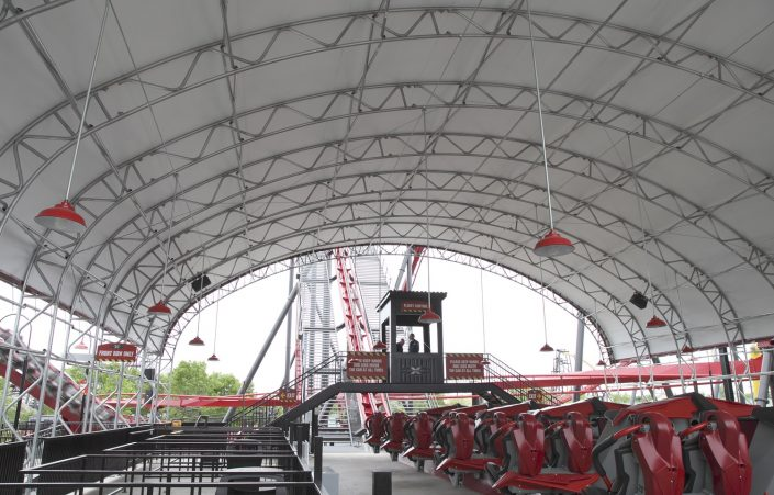 X Flight loading station at Six Flags Great America.