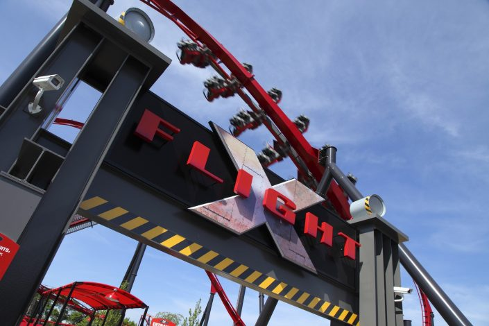 X Flight marquee at Six Flags Great America.