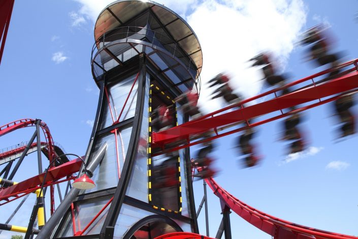 The adrenaline-pumping thrill element as the X Flight train speeds through the Control Tower.