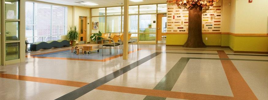 Linoleum flooring for eco friendly facilities bleck for Commercial grade cork flooring
